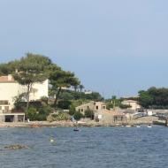 Beach on the edge of busy St Tropez